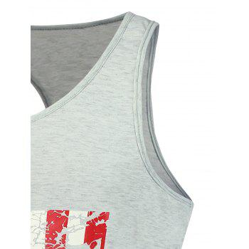 4th of July Distressed American Flag Tank Top - LIGHT GRAY 2XL