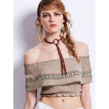 Off Shoulder Ruffles Lace Insert Cropped Top