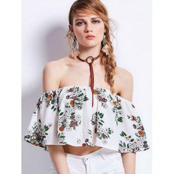 Off Shoulder Floral Print Flounce Cropped Top