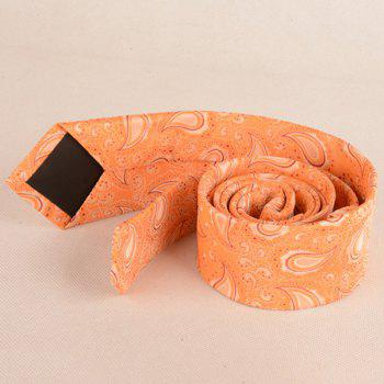 Jacquard Fabric Paisley Pattern Neck Tie -  ORANGE