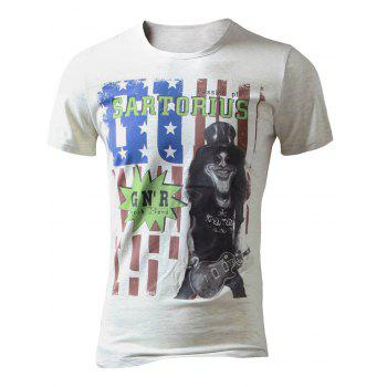 American Flag Print Graphics Tee