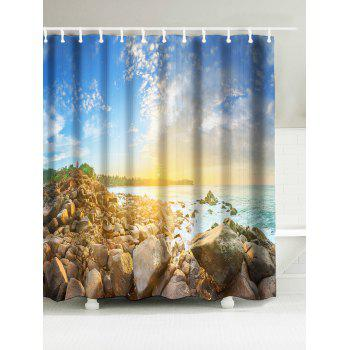 Sunshine Seaside Print Fabric Waterproof Bath Curtain