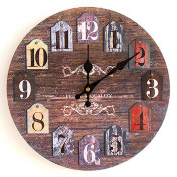Classics Analog Number Wood Round Wall Clock