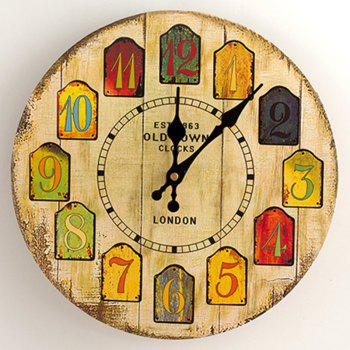 Cartoon Analog Number Round Wood Wall Clock
