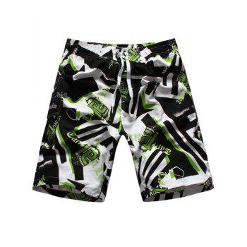 Graphic Geometric Print Drawstring Board Shorts