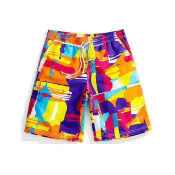 Color Block Graphic Print Drawstring Board Shorts