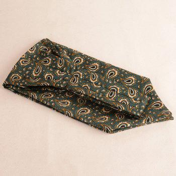Paisley Pattern Ascot Tie Bowtie and Handkerchief -  BLACKISH GREEN