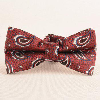 Paisley Pattern Ascot Tie Bowtie and Handkerchief -  WINE RED