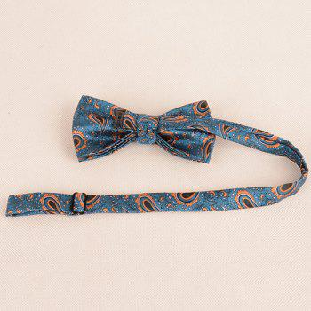 Paisley Pattern Ascot Tie Bowtie and Handkerchief -  BLUE