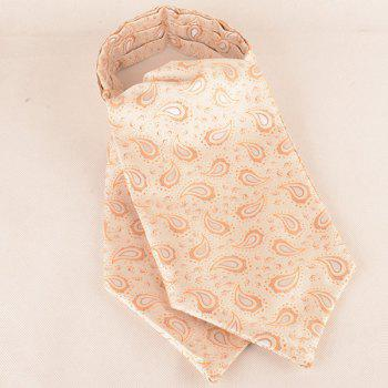 Paisley Pattern Ascot Tie Bowtie and Handkerchief -  PASTEL YELLOW