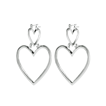 Detachable Double Love Heart Earrings