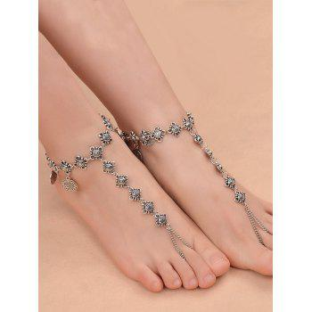 1PC Vintage Coins Fringed Charm Slave Anklet - SILVER SILVER