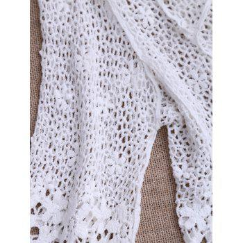 Hollow Out Crochet Kimono Beach Cover Up - WHITE WHITE