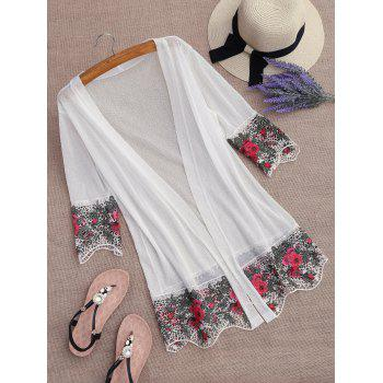 Lace Insert Embroidered Kimono Cover Up