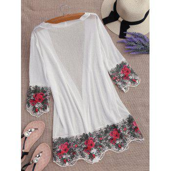 Lace Insert Kimono brodé Cover Up - Blanc ONE SIZE