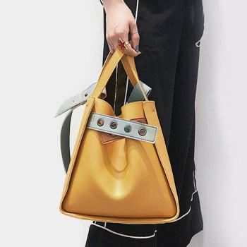 Convertible Faux Leather Eyelets Handbag