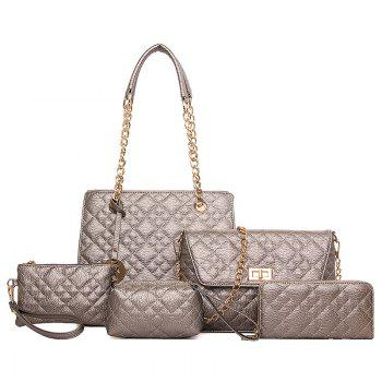 5 Pieces Quilted Chain Handbag Set