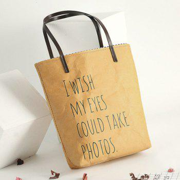 Rough Paper-Like Graphic Print Shopper Bag