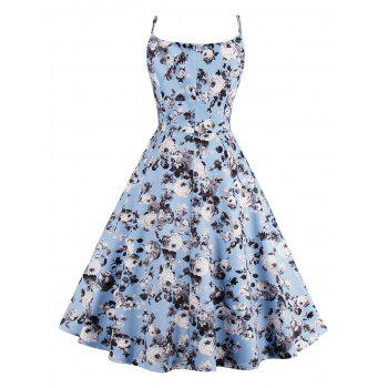Roses Printed High Waist Flare Sun Dress - LIGHT BLUE S