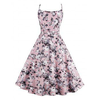 Roses Printed High Waist Flare Sun Dress - PINK PINK