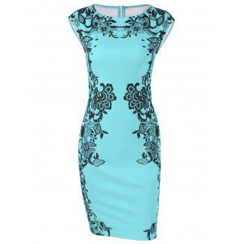 Cap Sleeve Floral Pencil Dress