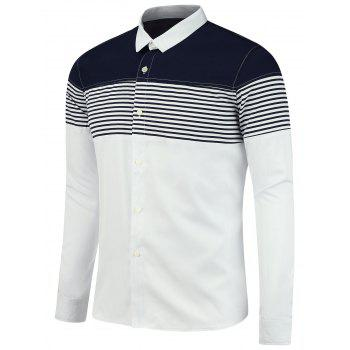 Color Block Stripe Panel Long Sleeve Shirt