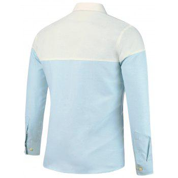 Long Sleeve Color Block Shirt - CLOUDY CLOUDY
