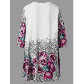 Floral V Neck Plus Size Tunic Top - COLORMIX COLORMIX