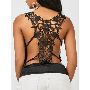 V Neck Ruched Lace Tank Top