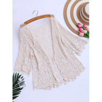 Hollow Out Crochet Kimono Beach Cover Up
