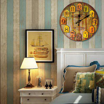 Vintage Wood Analog Number Round Wall Clock - WOOD COLOR WOOD COLOR