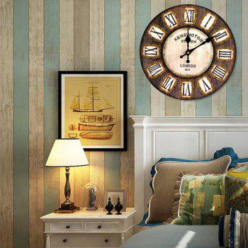 Analog Round Wooden Decorative Wall Clock - DEEP BROWN DEEP BROWN