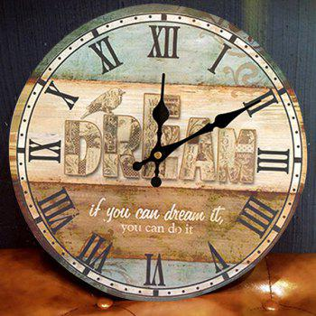 Dream Analog Wood Wall Round Clock - COLORMIX COLORMIX