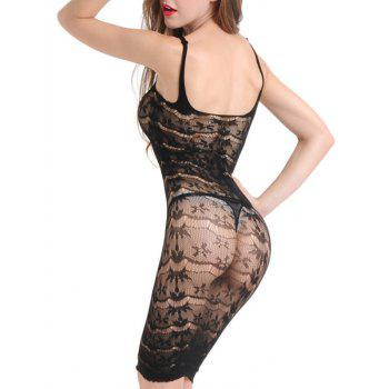 Cut Out Sheer Slip Fishnet Dress - BLACK ONE SIZE