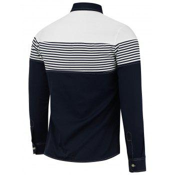 Color Block Stripe Panel Long Sleeve Shirt - BLUE 2XL