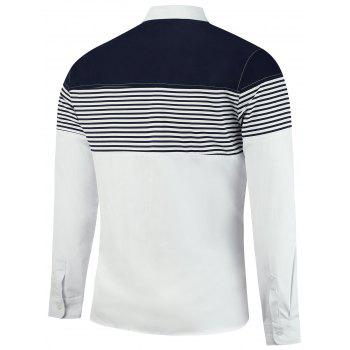 Color Block Stripe Panel Long Sleeve Shirt - WHITE 3XL