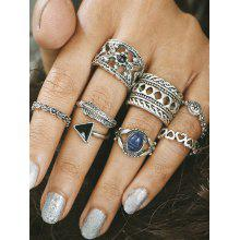 Engraved Alloy Feather Heart Finger Ring Set