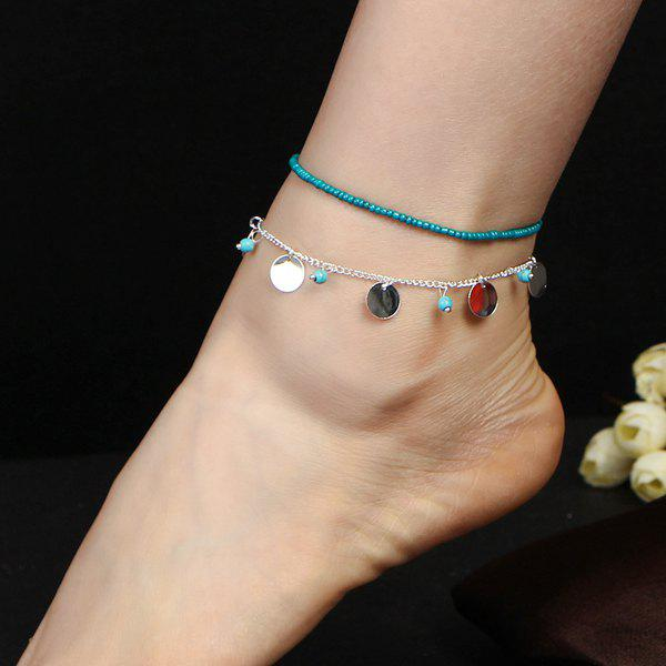 Artificial Turquoise Disc Beaded Charm Anklet Set