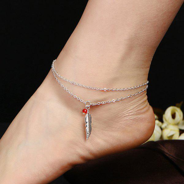 Layered Alloy Feather Bead Charm Anklet - SILVER