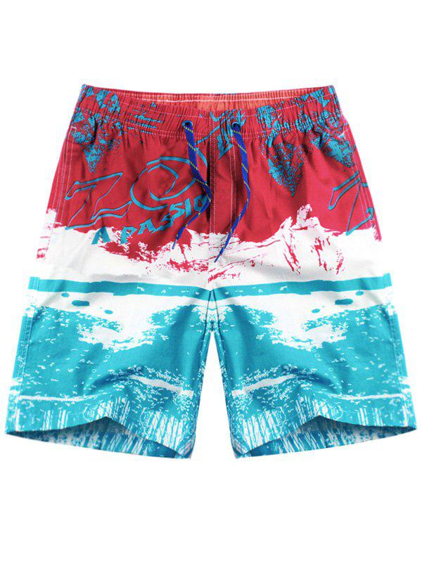 Graphic Pattern Drawstring Board Shorts drawstring graphic print pocket sport shorts