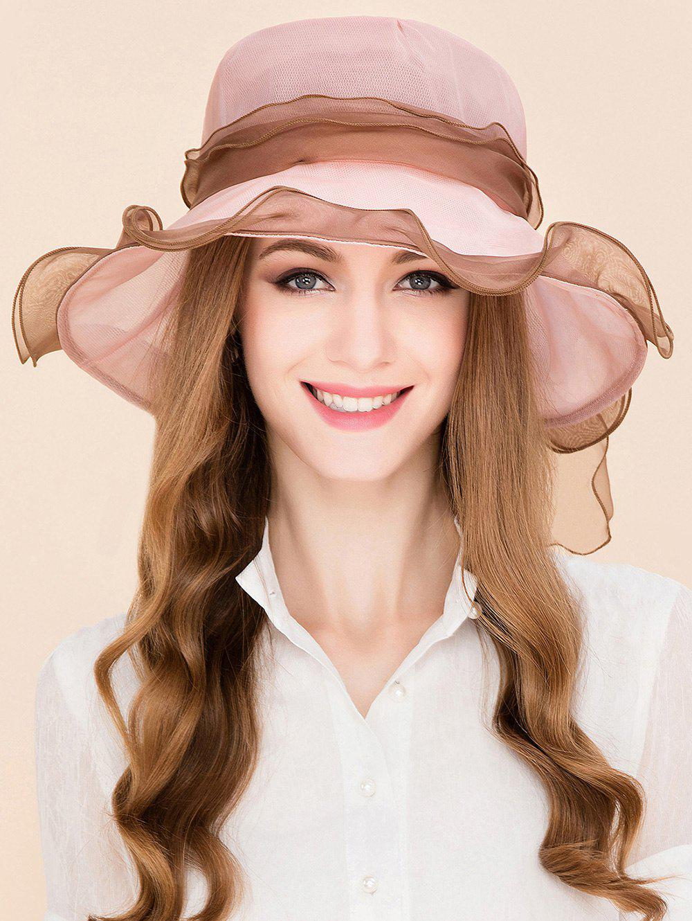Lacing Bowknot Mulberry Silk Sun Hat - PINK