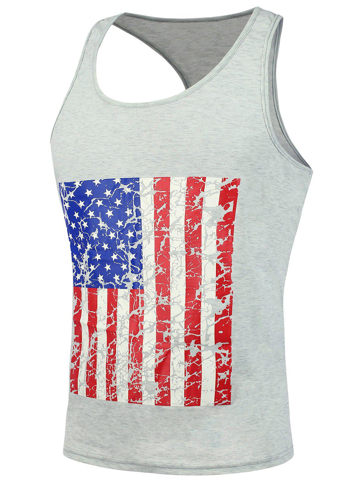 4th of July Distressed American Flag Tank Top - LIGHT GRAY L