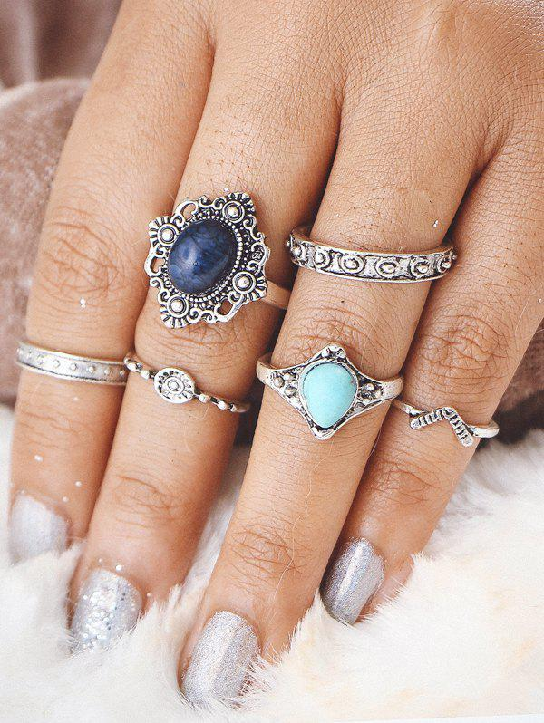 Faux Turquoise Oval Bohemian Finger Ring Set - Argent