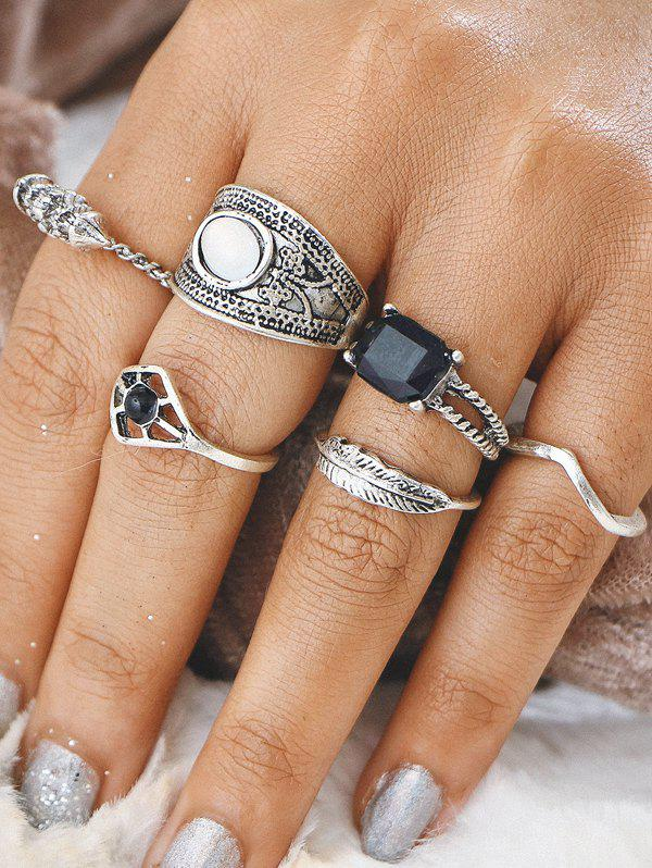 Alloy Feather Geometric Gypsy Finger Ring Set artificial gem alloy feather finger ring set