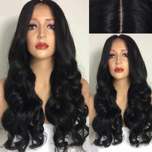 Center Part Ultra Long Body Wave Synthetic Wig - BLACK