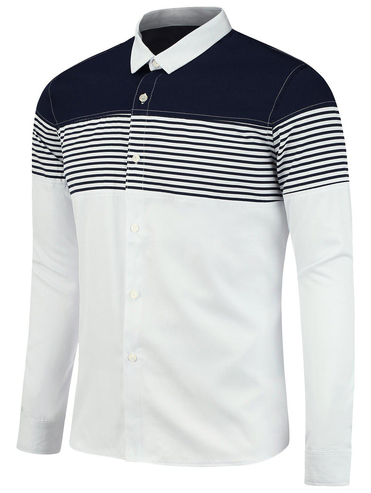 Color Block Stripe Panel Long Sleeve Shirt - WHITE 2XL