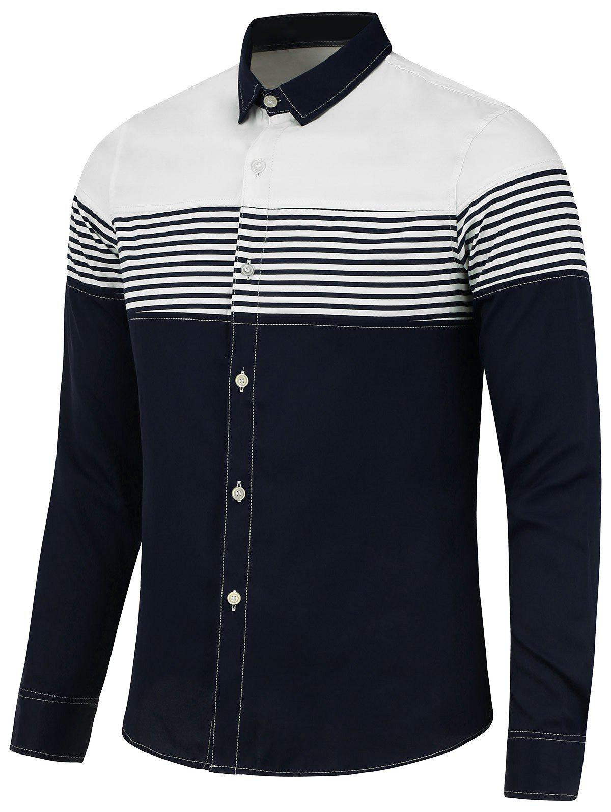 Color Block Stripe Panel Long Sleeve Shirt - BLUE 3XL
