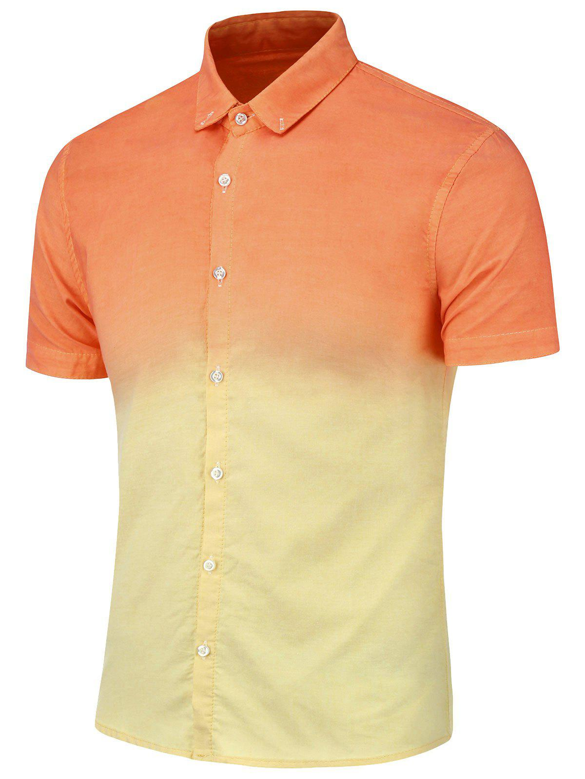 Dip Dye Button Down Short Sleeve Shirt - ORANGE YELLOW 2XL