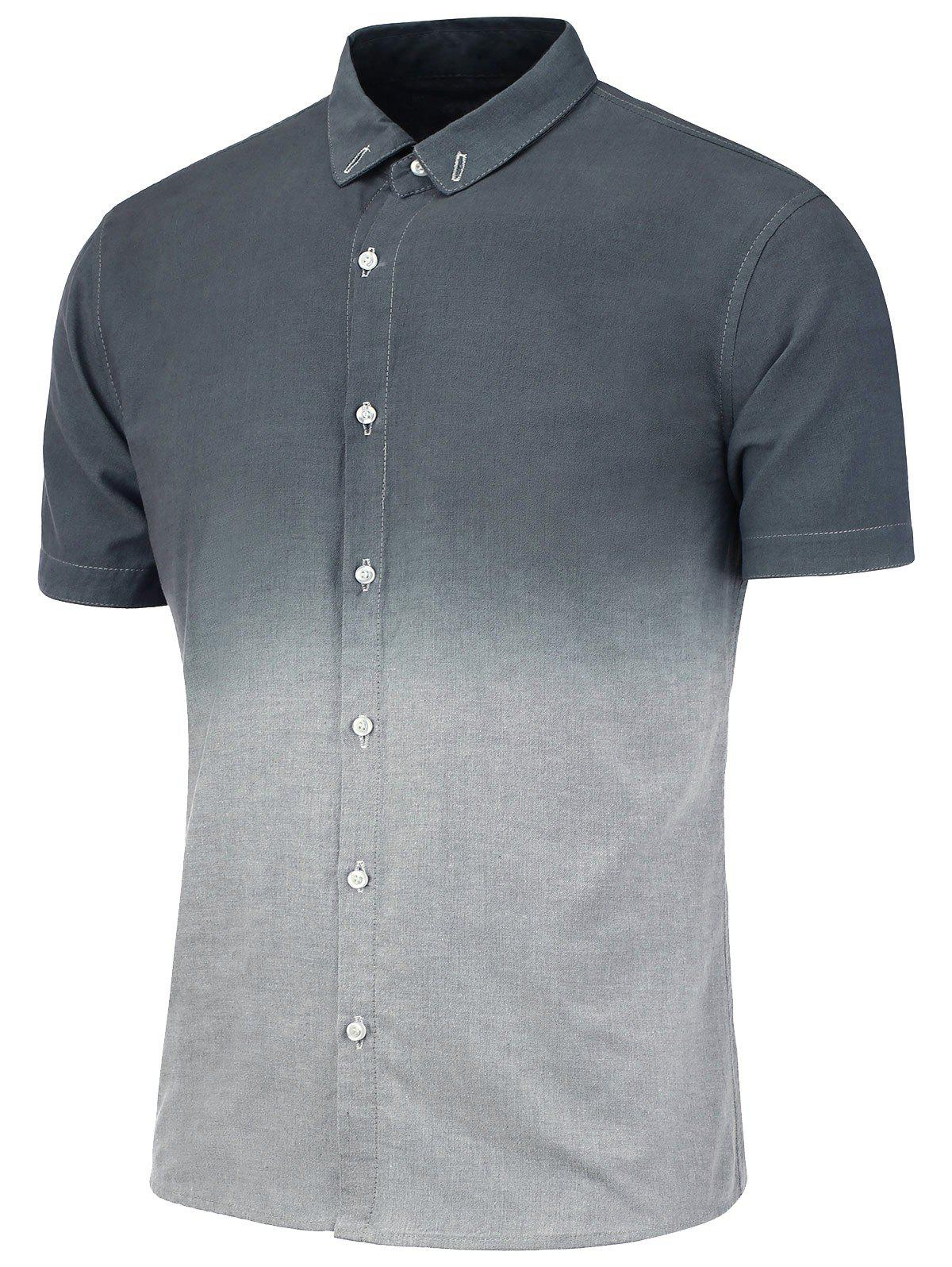 Dip Dye Button Down Short Sleeve Shirt - GRAY 3XL