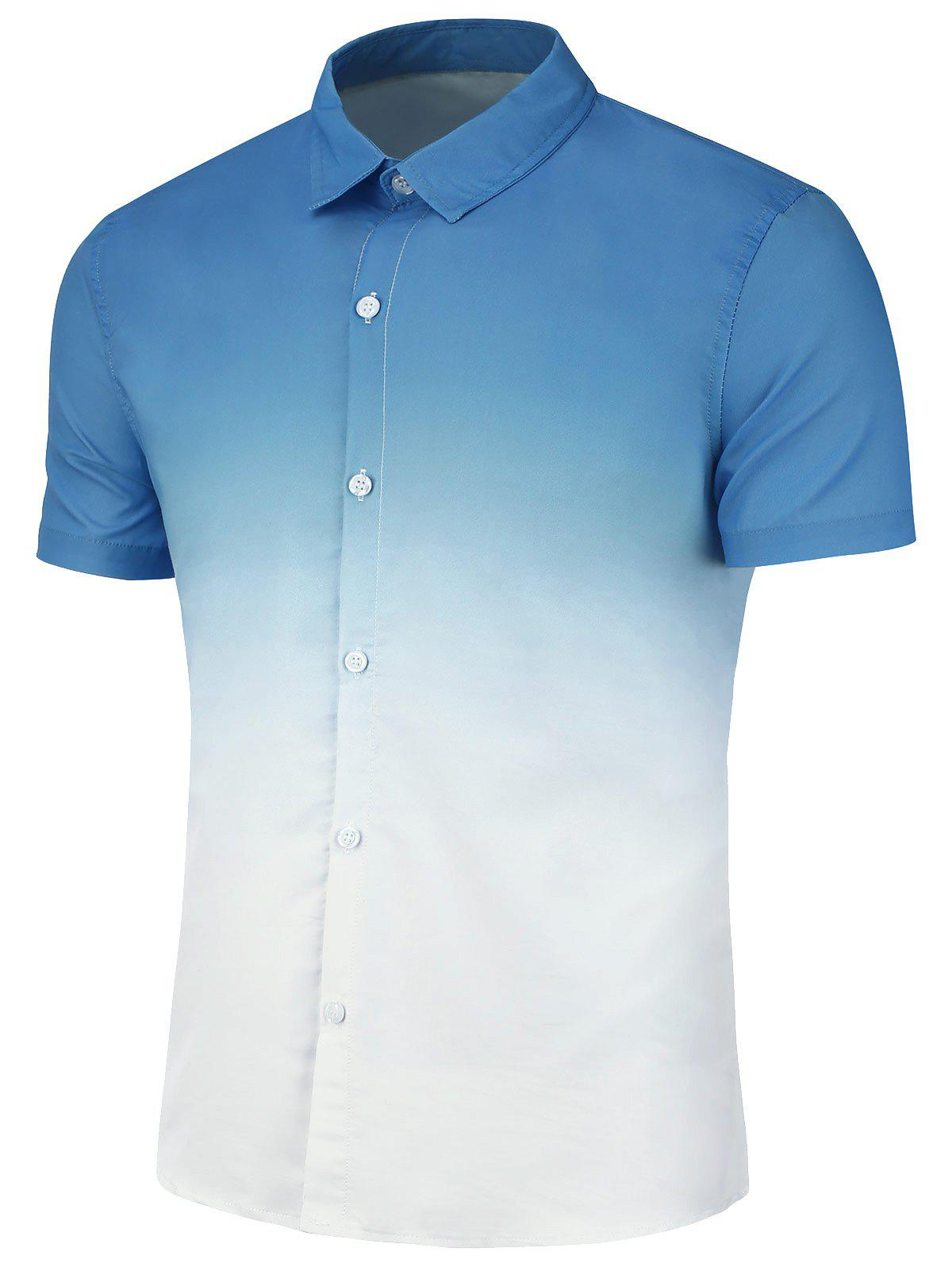 Slim Fit Ombre Print Casual Shirt - BLUE 3XL